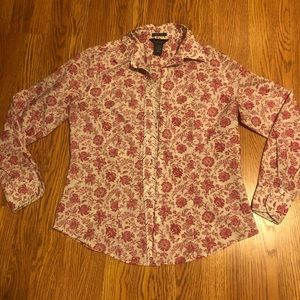 Pink Flowered Button Down Top